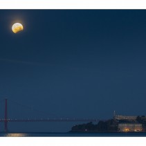 April Full moon: over Alcatraz and moon eclipse